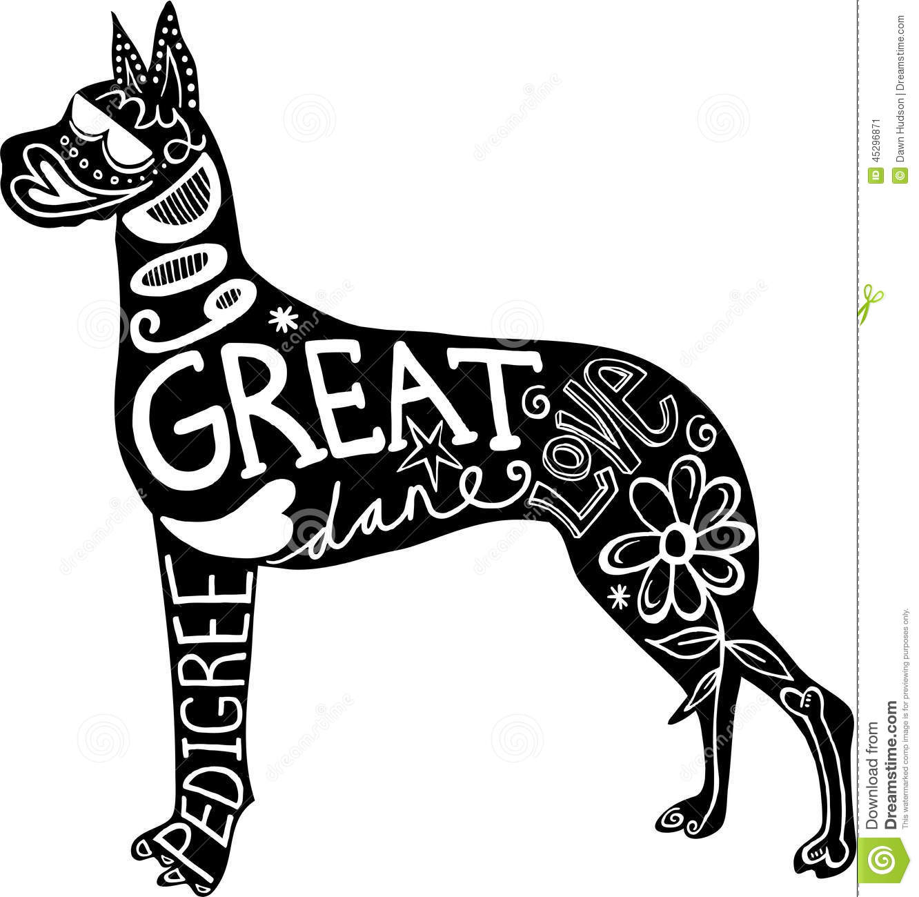 Pet Great Dane Dog Stock Illustration
