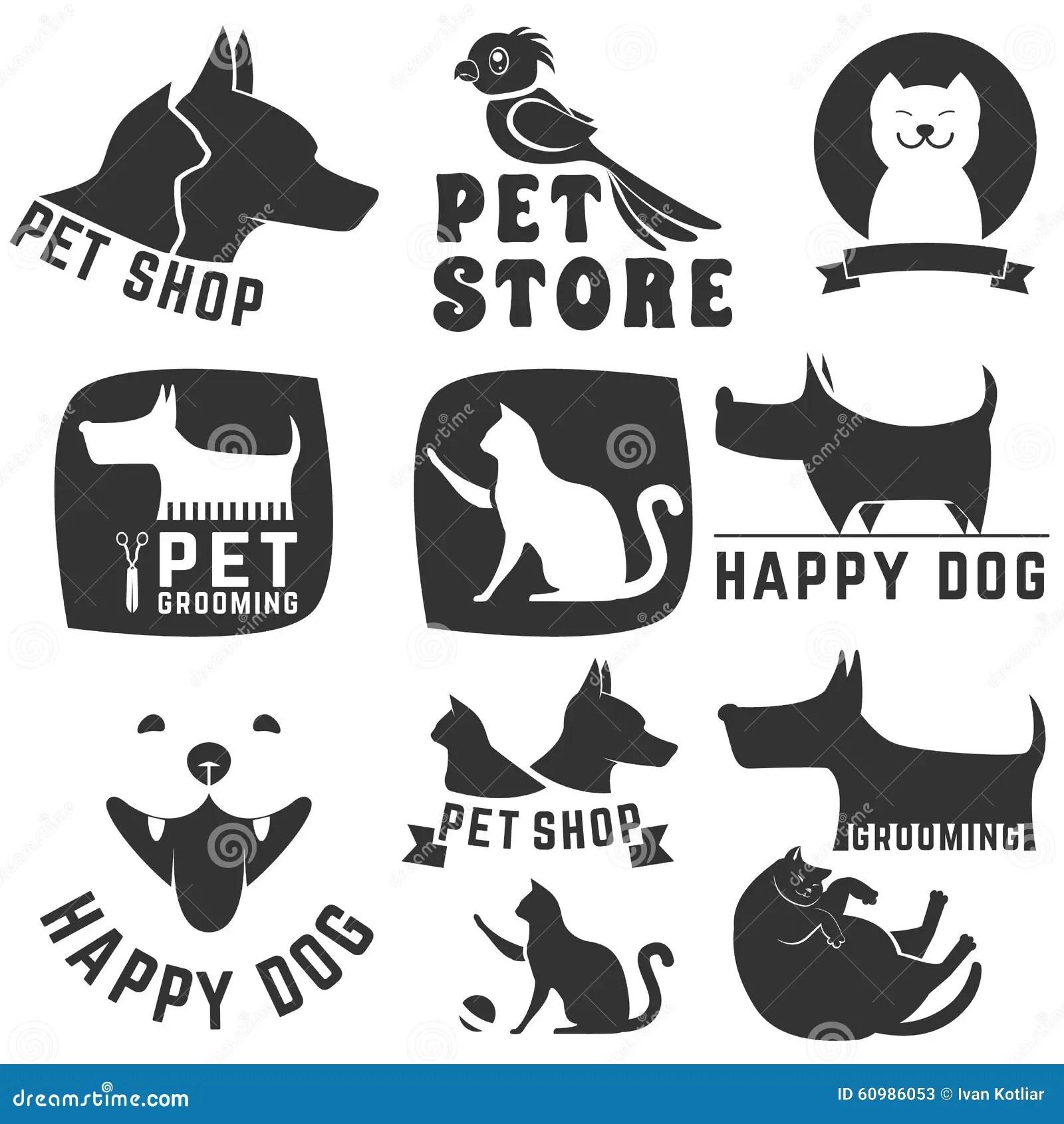 Vector Set: Pet Grooming Labels Vector Illustration