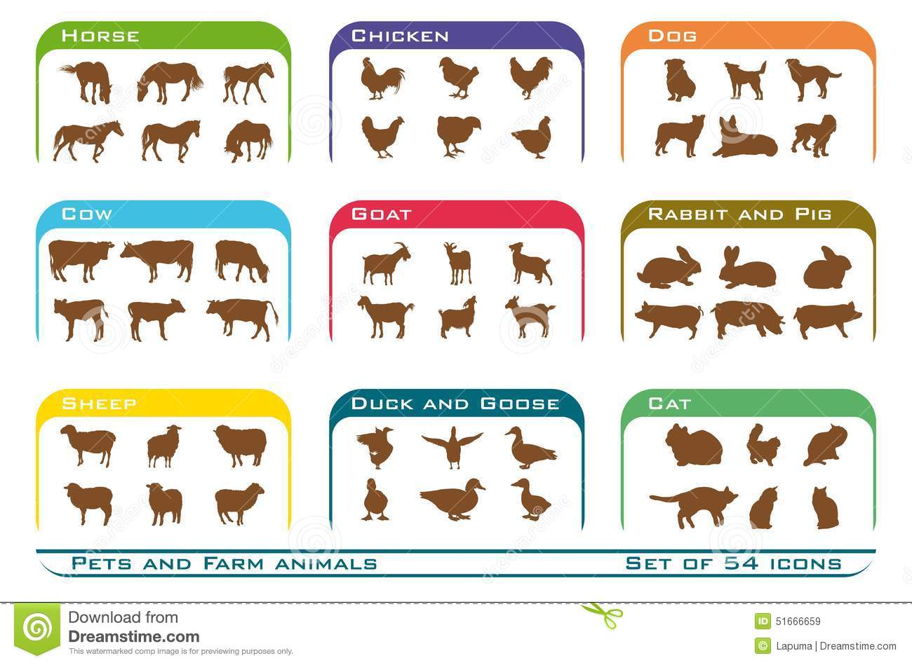 Pets And Farm Animals Icons Stock Vector
