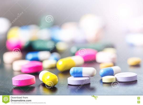 Pharmacy Background Black Table. Tablets