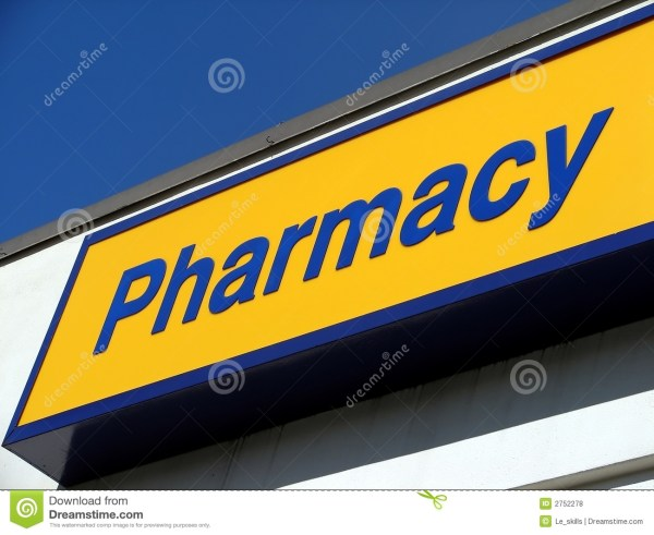 Pharmacy Sign Stock Of Pills