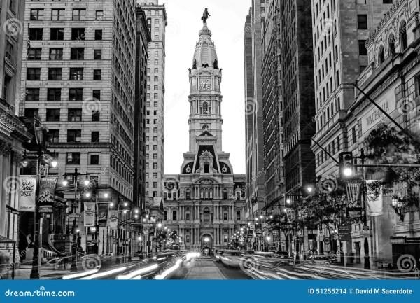 Black and White Philadelphia City Hall