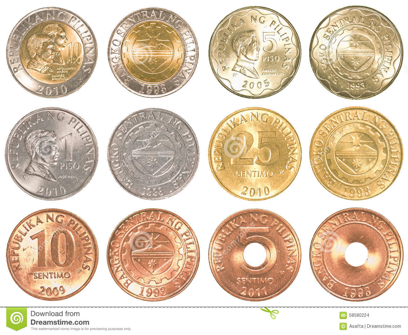 Philippines Peso Coins Collection Set Stock Photo