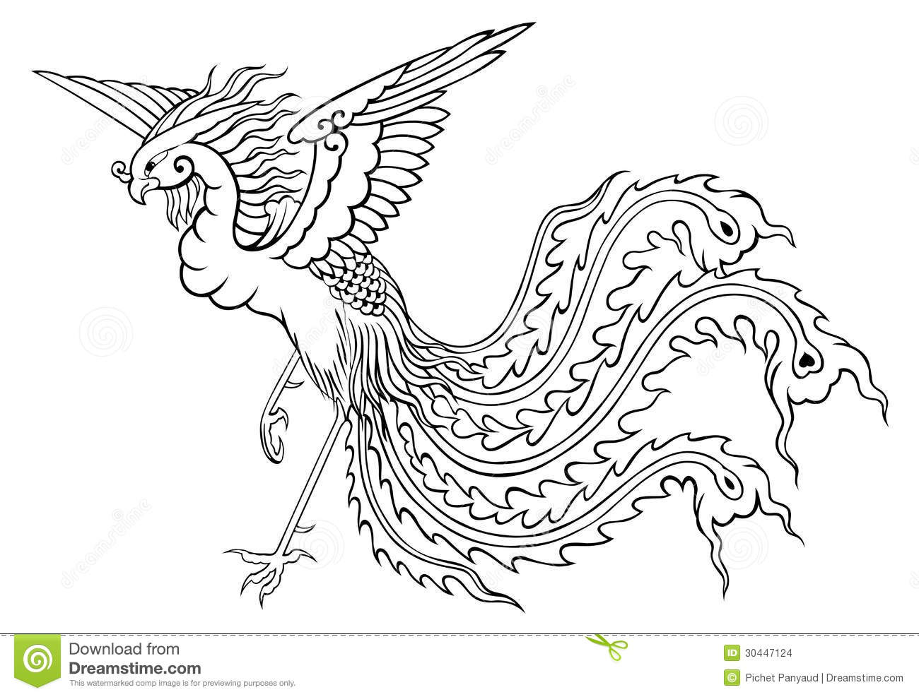 Phoenix Chinese Style For Coloring Stock Illustration
