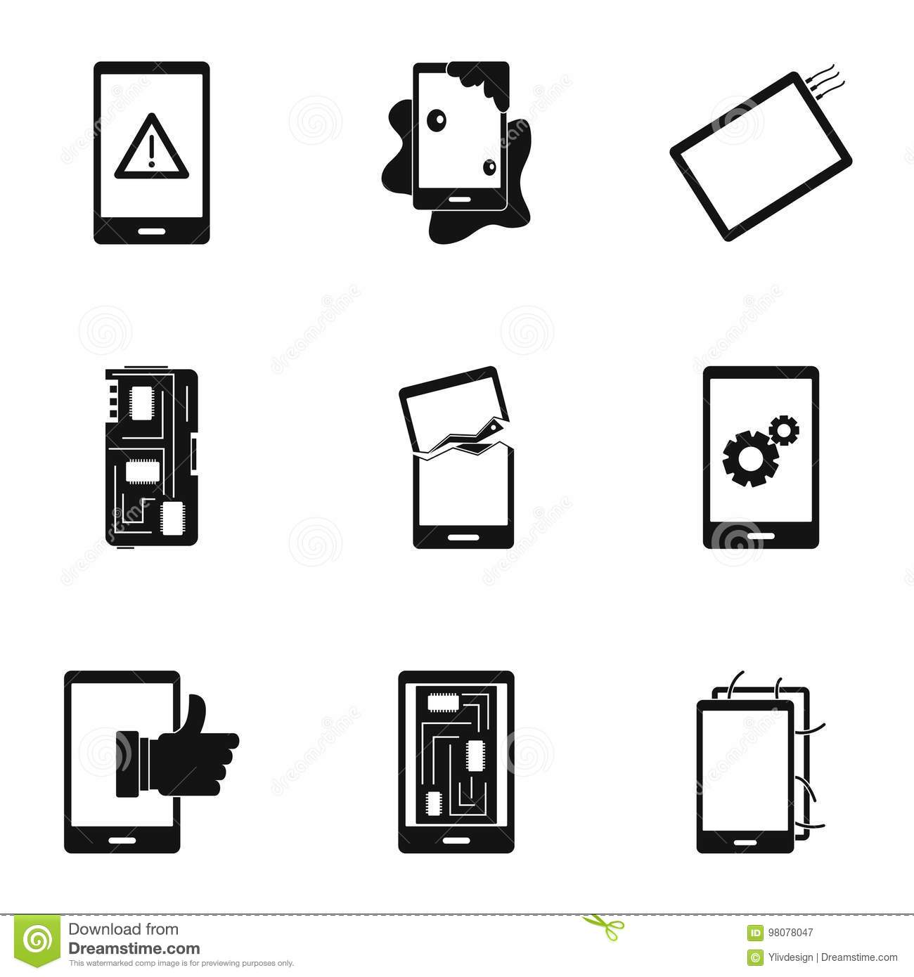 Phone Diagnostics Icon Set, Simple Style Stock Vector