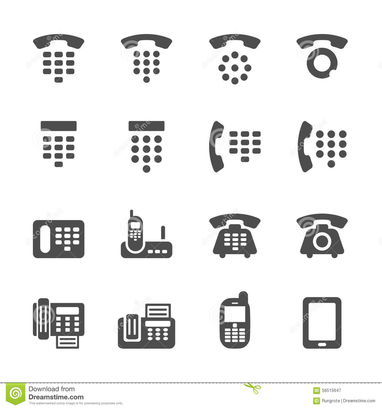 Phone And Fax Icon Set Vector Eps10 Stock Vector
