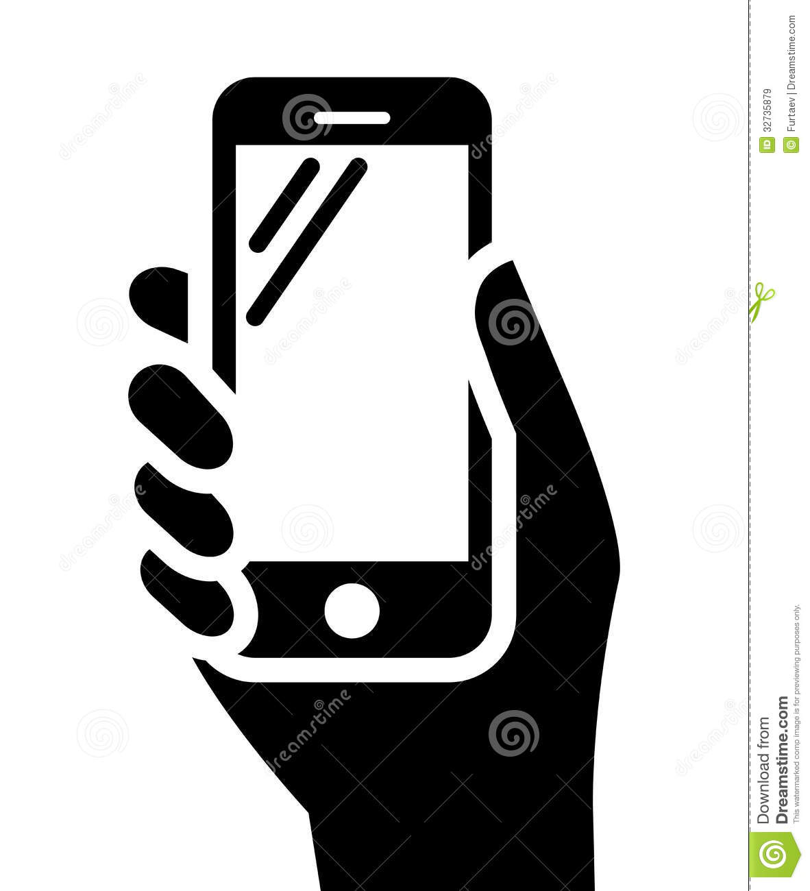Set Vector Isolated Black Icon Fire Stock Vector Royalty Free Phone In Hand Sign Royalty Free Stock Images - Image: 32735879