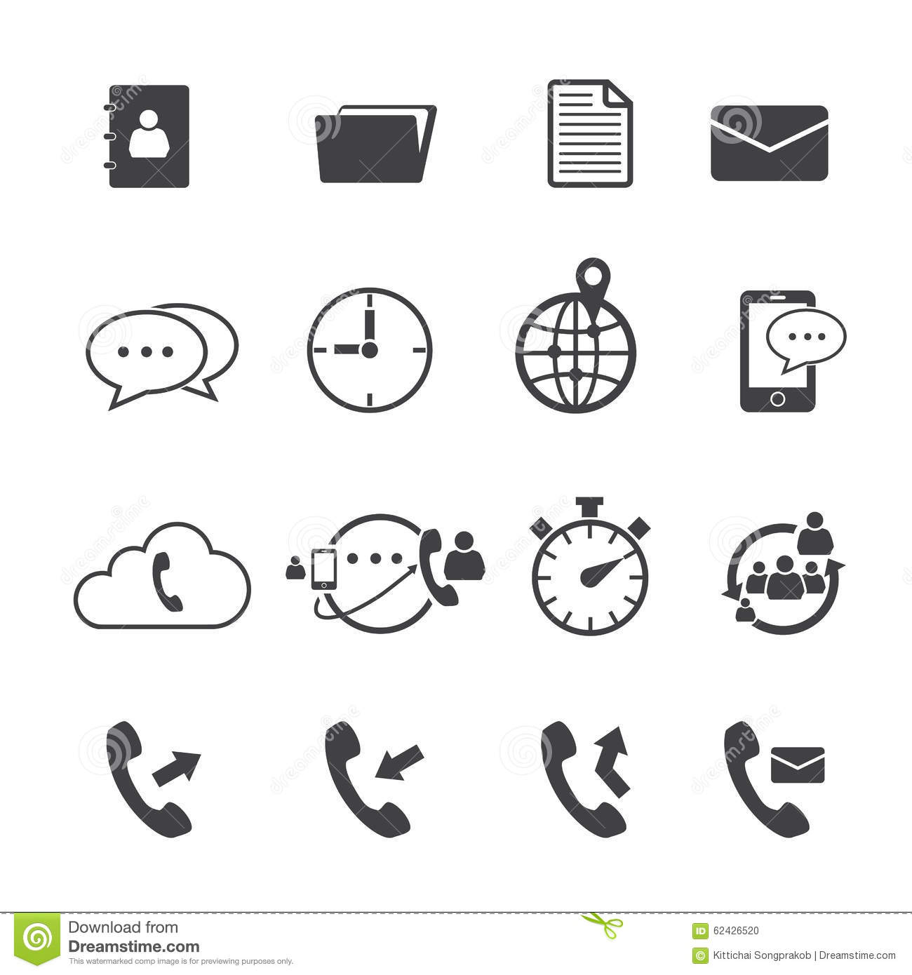 Phone Mail Icon Set Stock Vector
