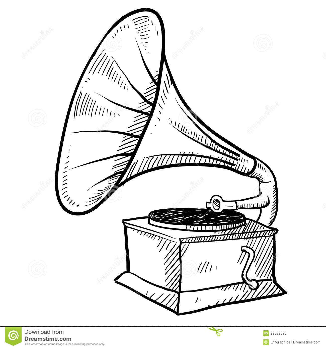 Phonograph Sketch Stock Vector Image Of Stereo Album