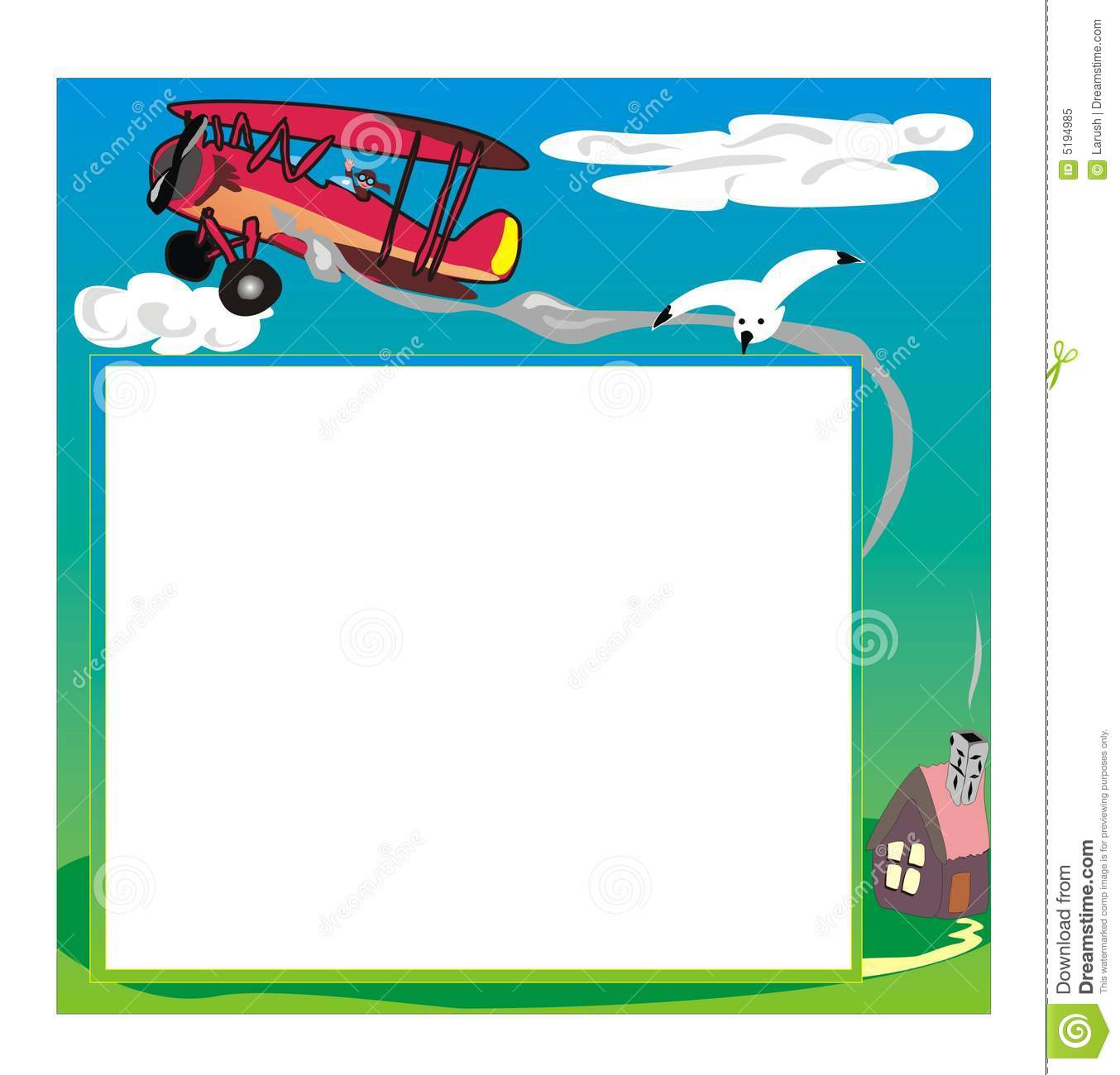 Photo frame with airplane stock vector Image of bird