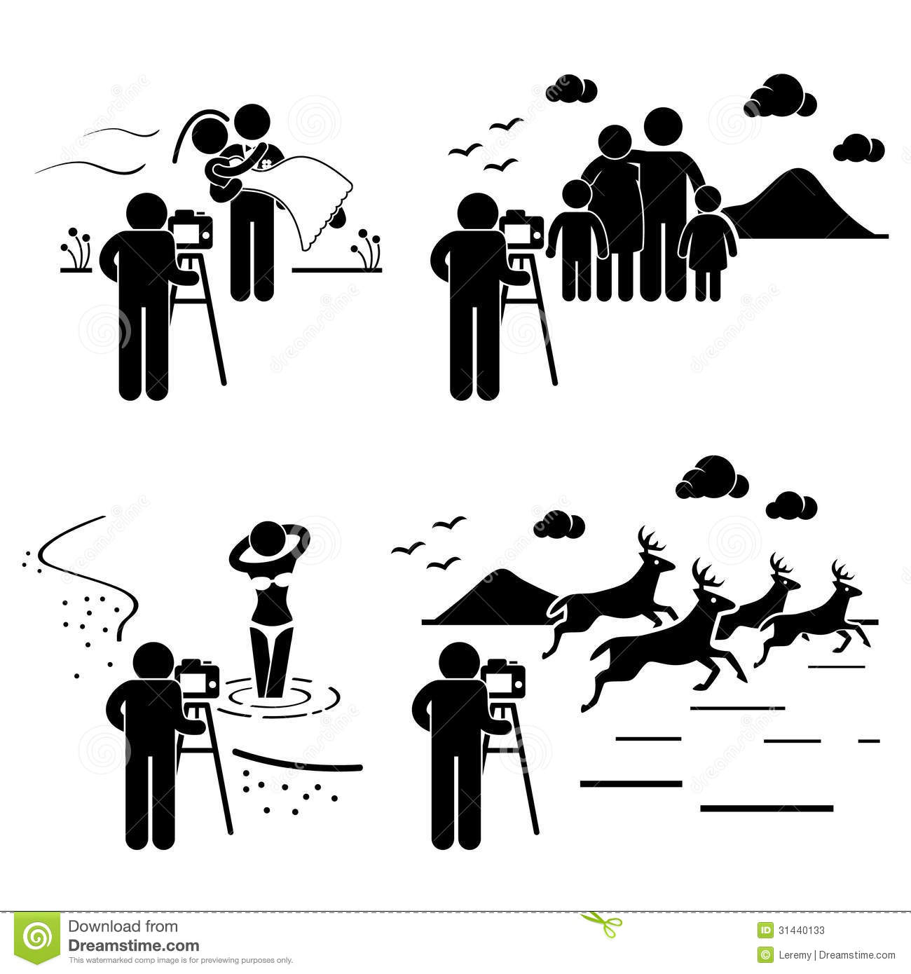 Photographer Photography Outdoor Pictogram Stock Vector