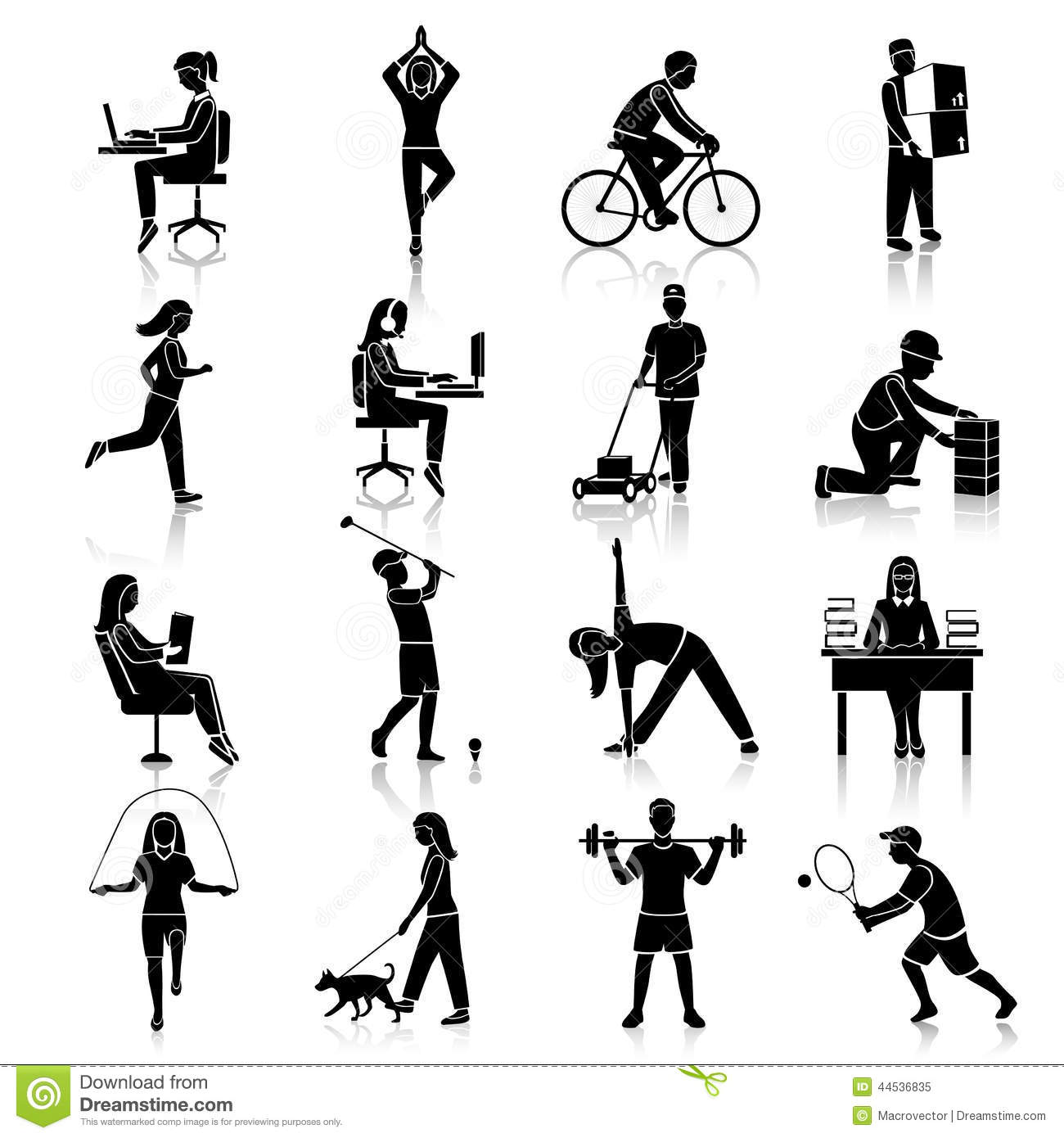 Physical Activity Icons Black Stock Vector