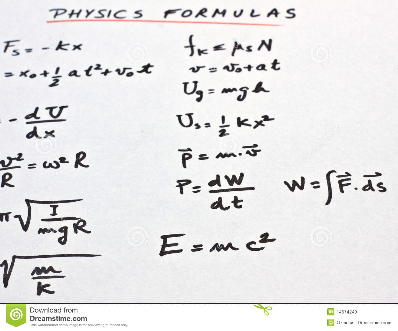 Physics Formulas Written On A White Paper Royalty Free