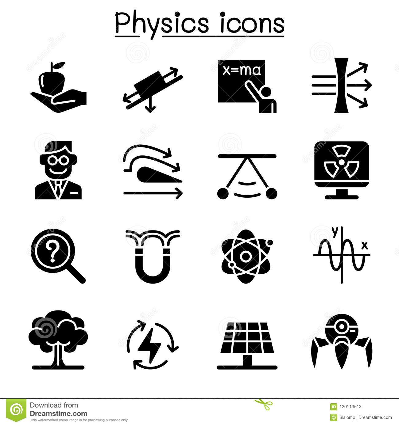 Physics icon set stock vector. Illustration of magnetic