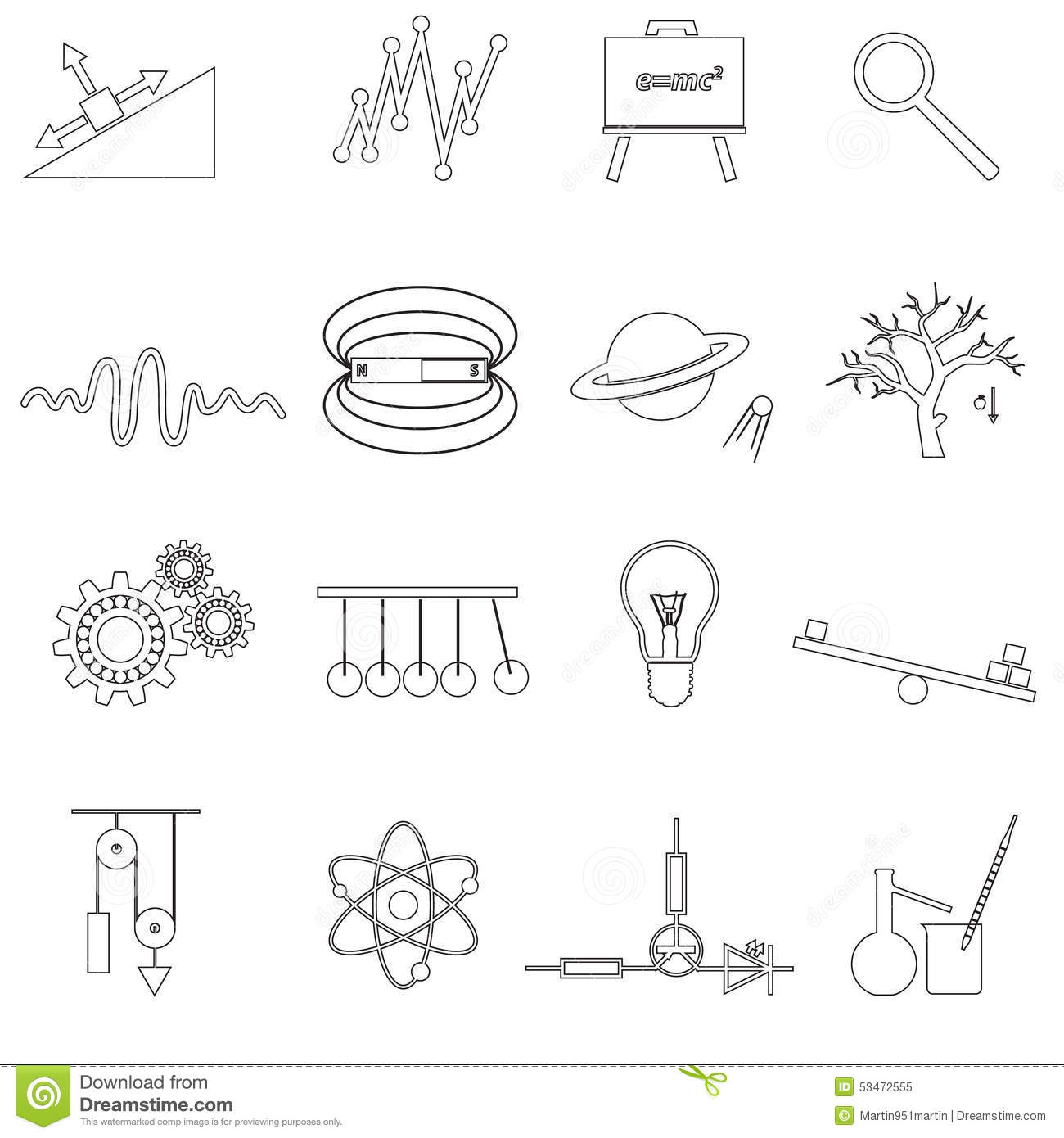 Physics Outline Simple Vector Icons Set Stock Vector