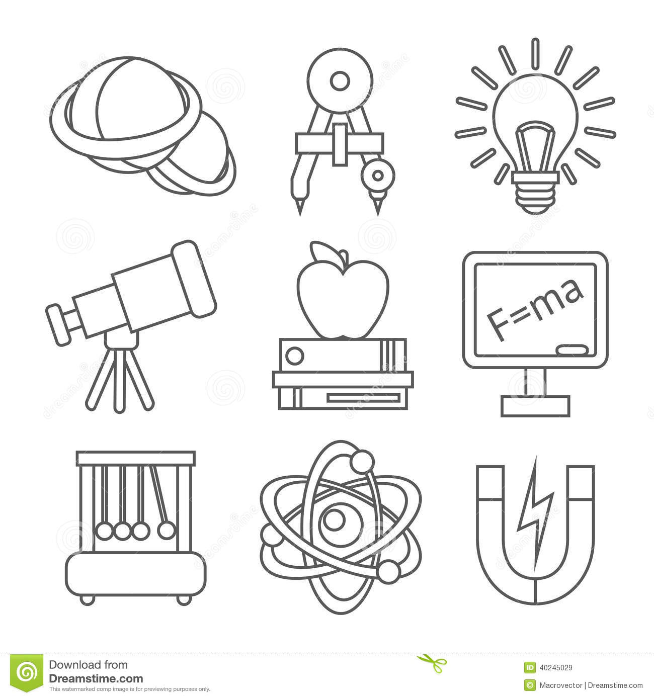 Physics Science Icons stock vector. Image of blackboard