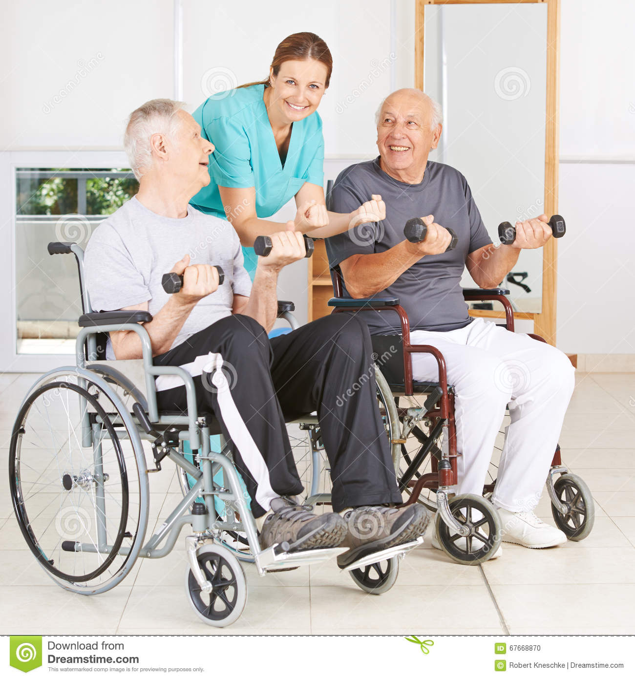 chair exercises for seniors in wheelchairs gray upholstered dining chairs physiotherapist with two senior men stock