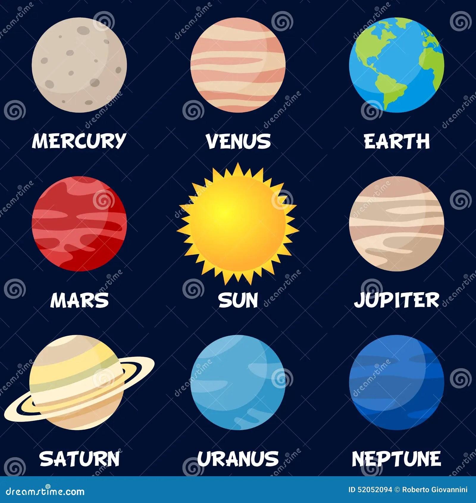 Pianeti Del Sistema Solare Con Il Sun Illustrazione