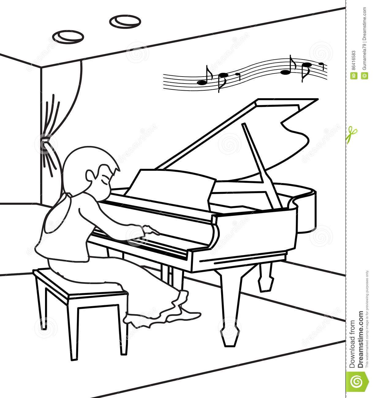 Pianist coloring page stock illustration. Illustration of