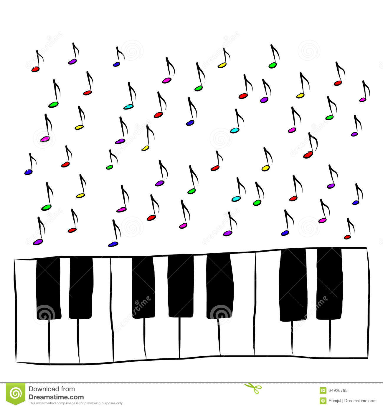Piano Keyboard With Notes, Colored Stock Vector