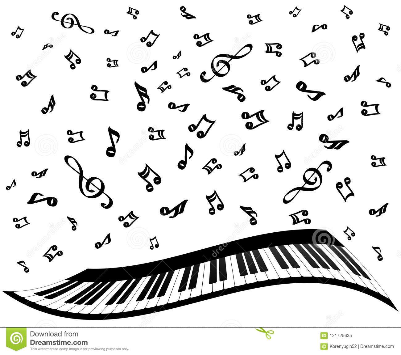 Piano Keys And Music Notes On White, Stock Vector