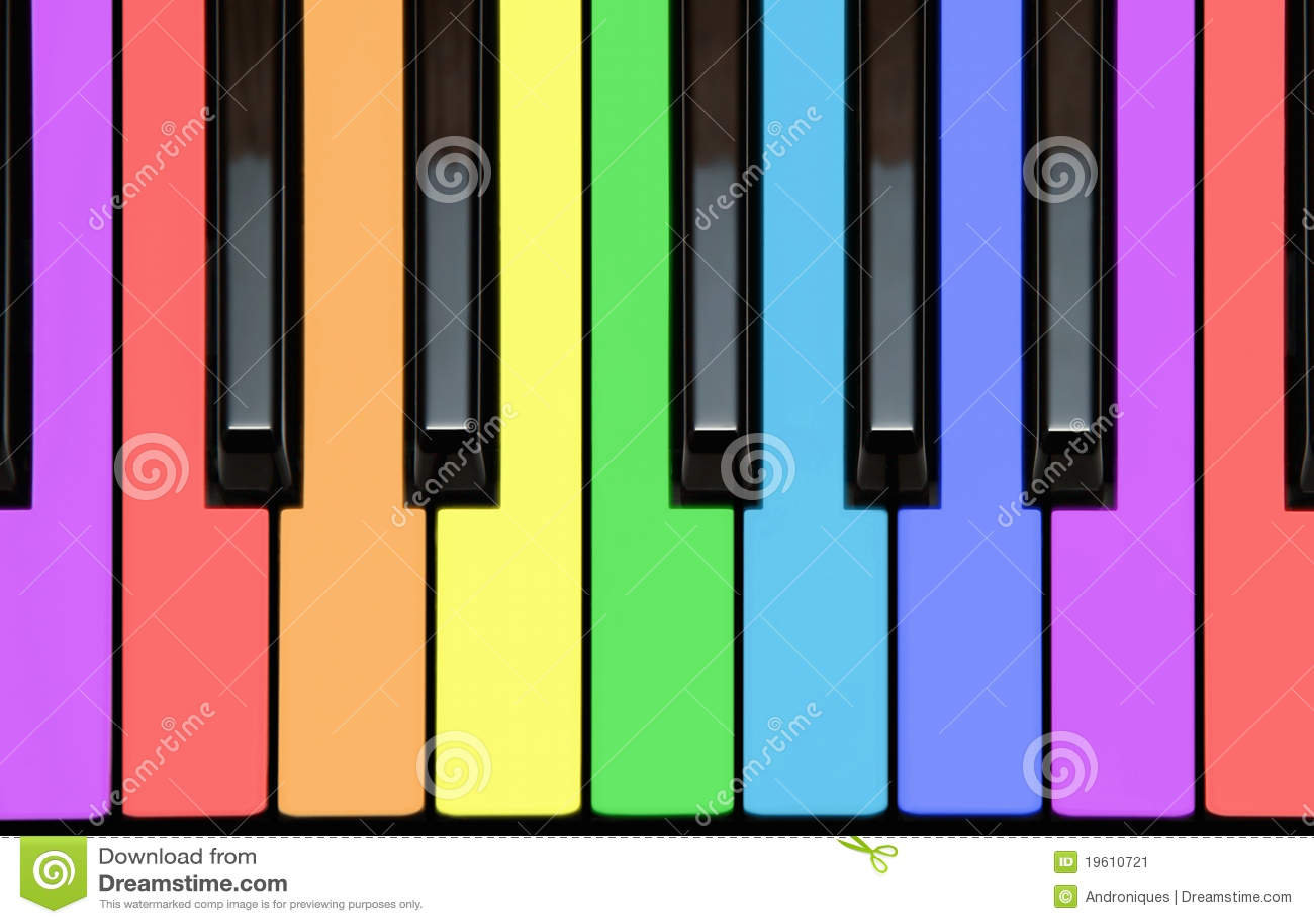 Piano Keys In Rainbow Colors Stock Image