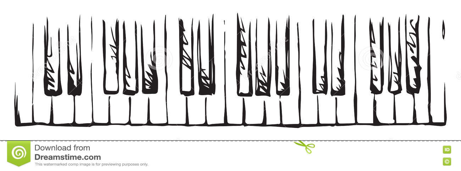 Piano Keys. Vector drawing stock vector. Image of