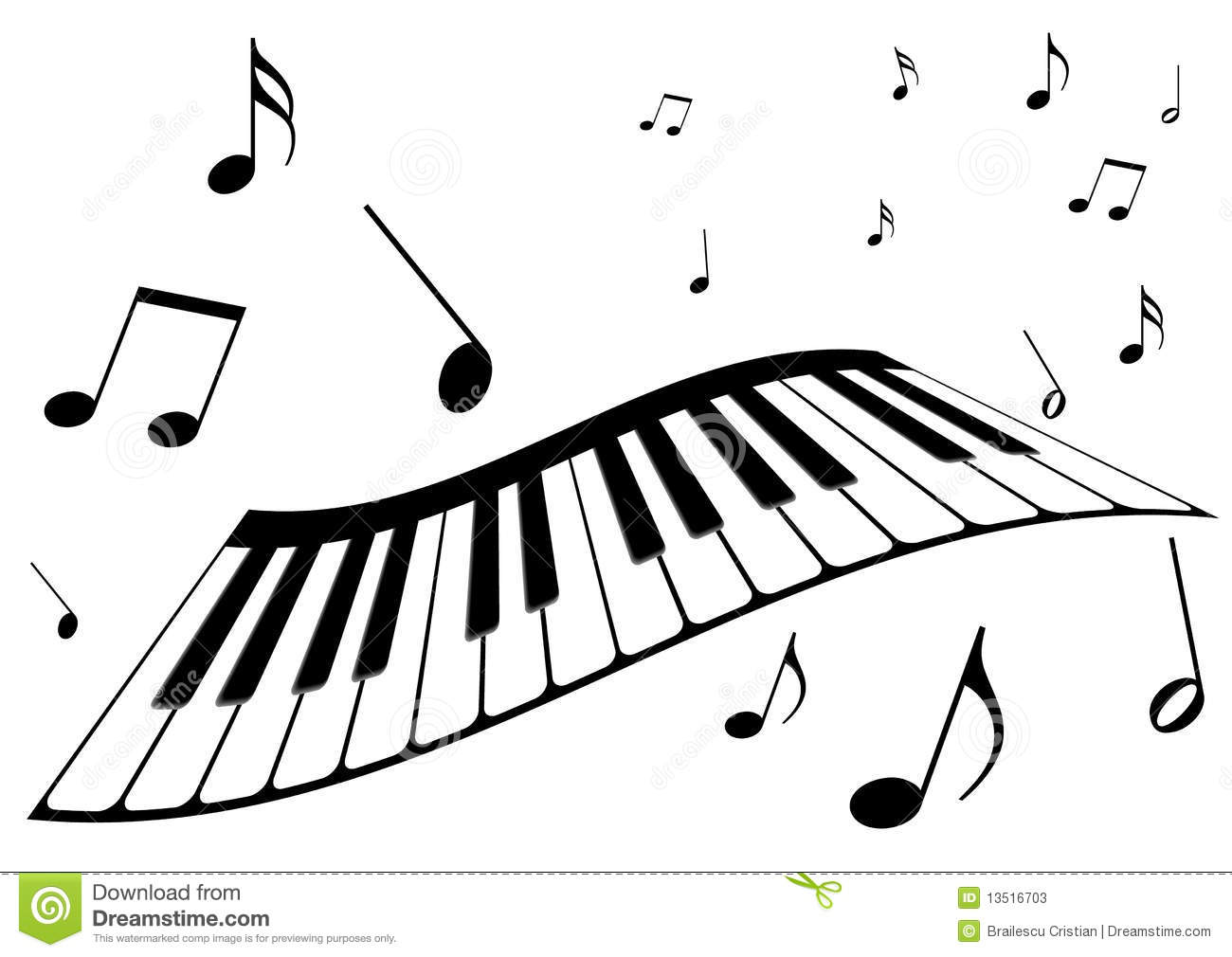 A piano and music notes stock vector. Illustration of