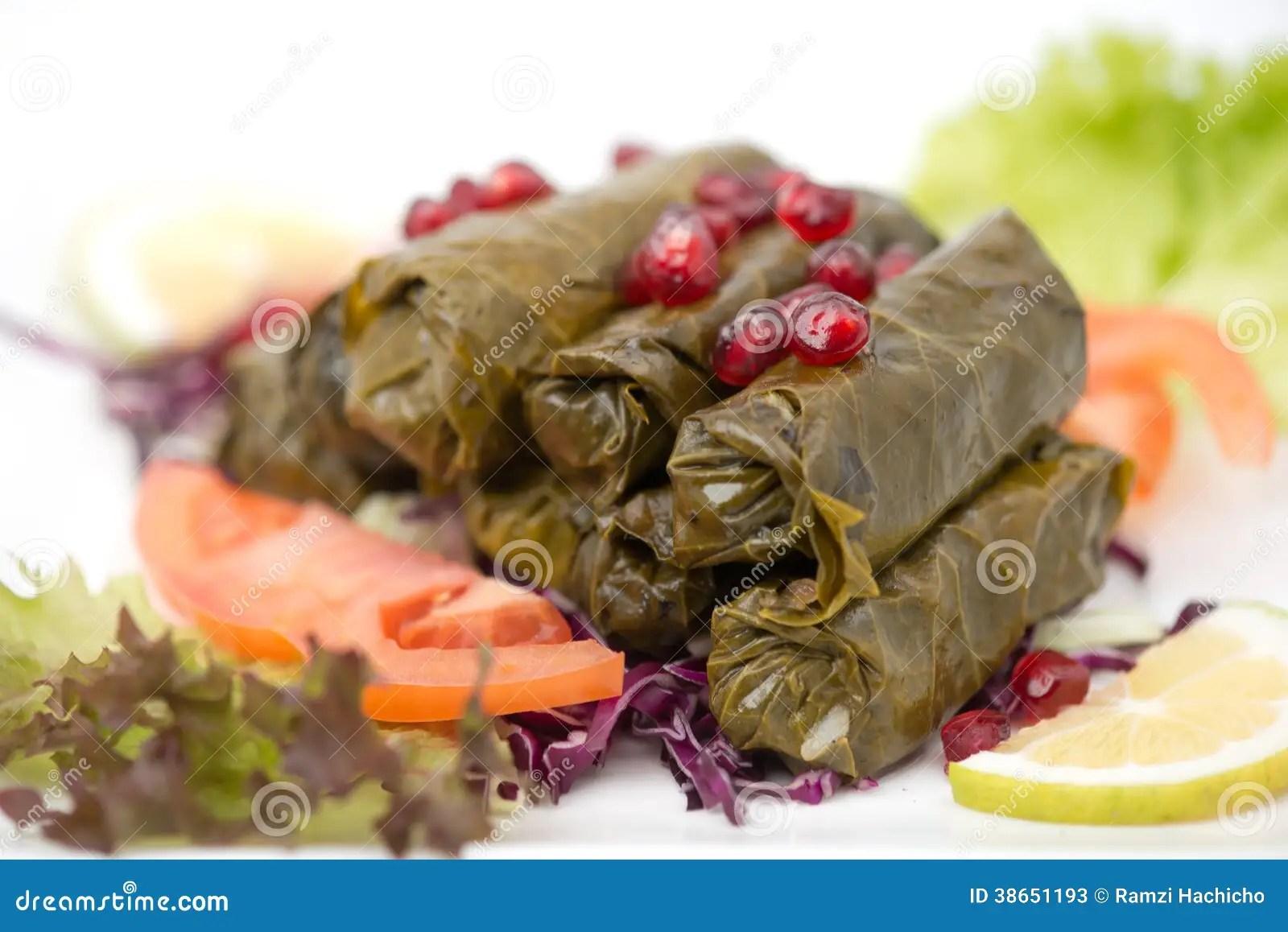Piatto Farcito Delle Foglie Di Vite Cucina Libanese Immagine Stock  Immagine di piatto dieta