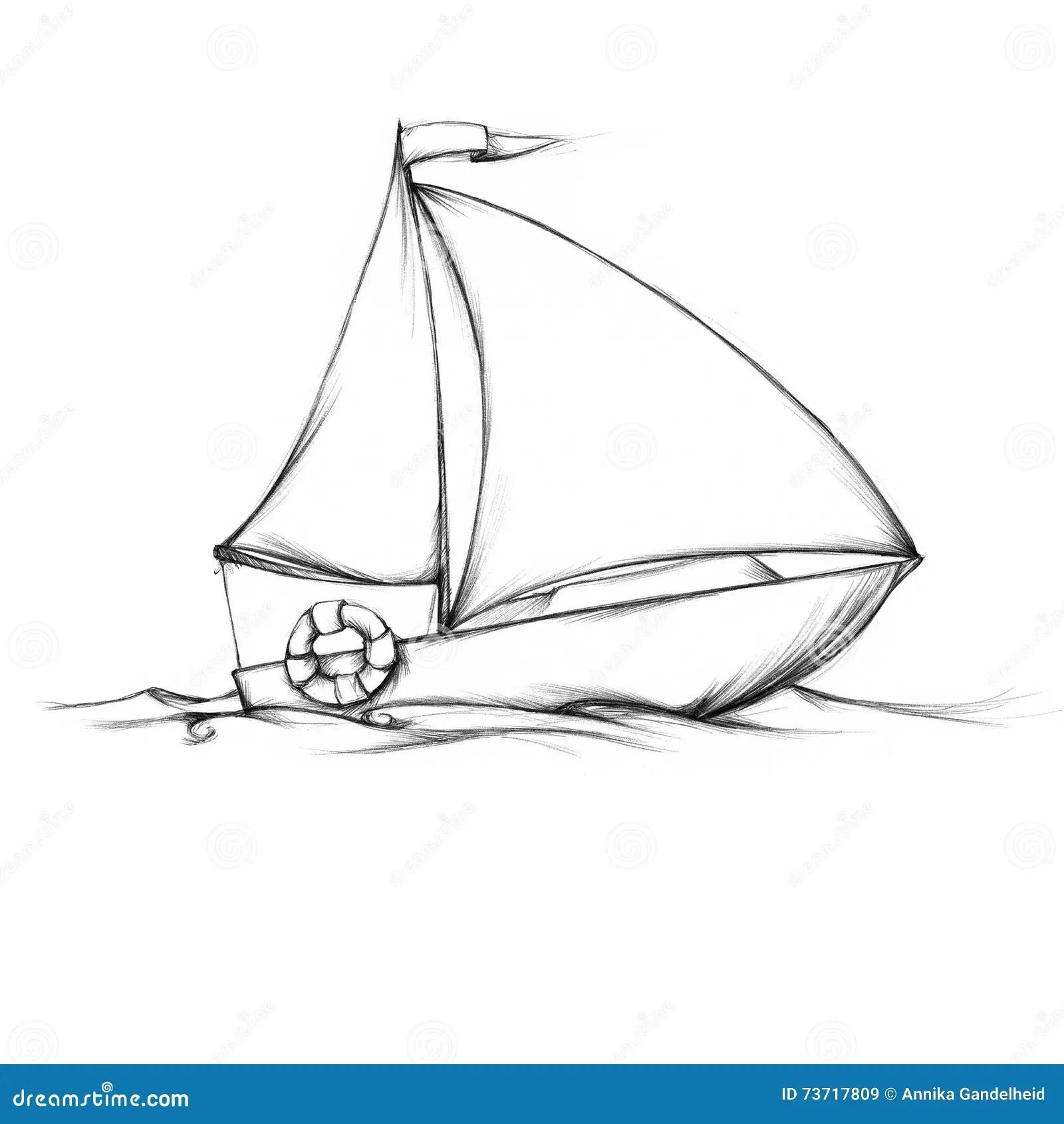Piccola Barca A Vela Semplice Illustrazione Di Stock