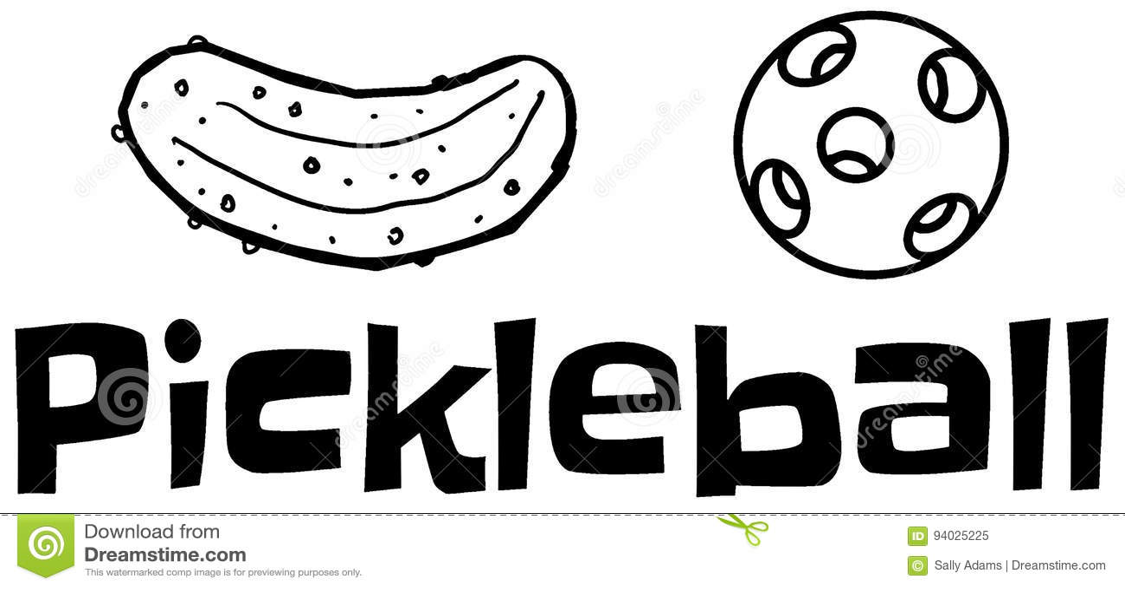 Pickle + Ball stock illustration. Illustration of font
