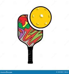 creative design of pickleball racket illustration [ 1300 x 1390 Pixel ]