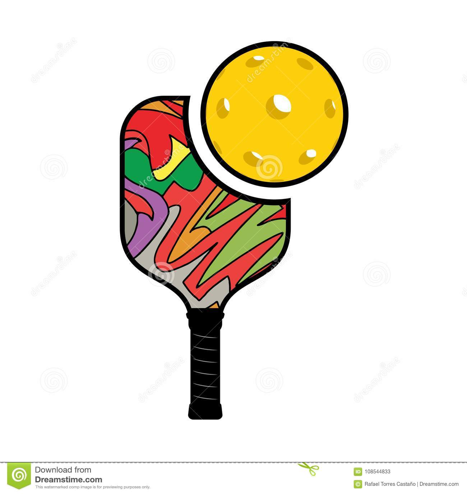 hight resolution of creative design of pickleball racket illustration