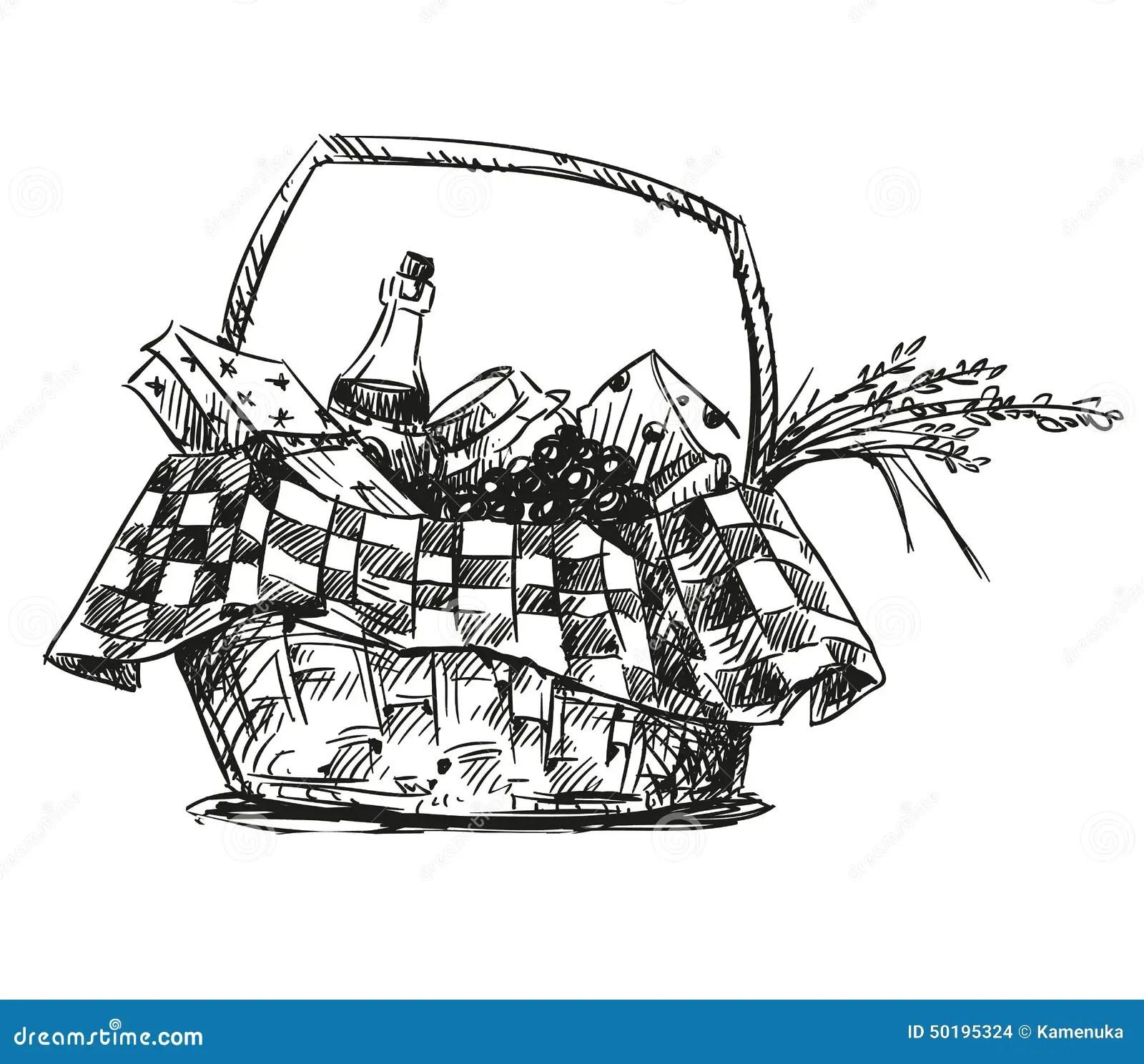 Picknickmand Met Snack Vector Illustratie Illustratie