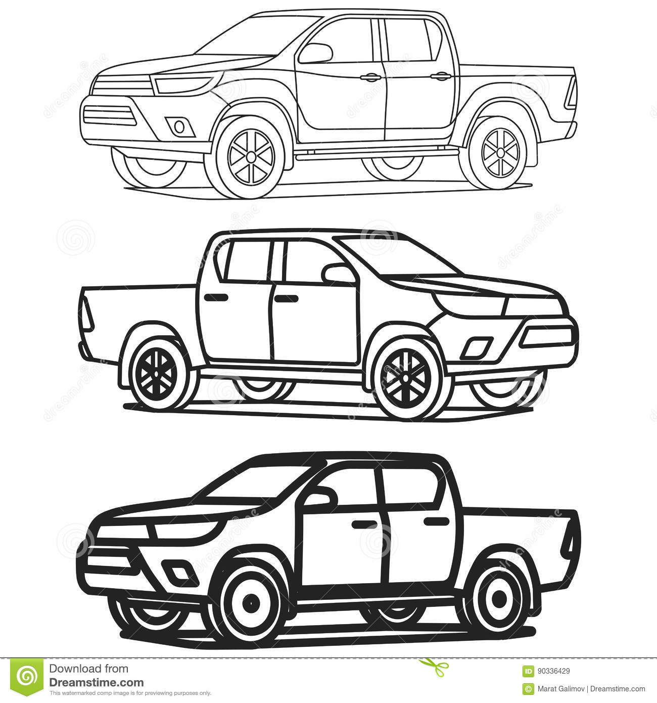Pickup Truck Outline Set On White Background Drawing