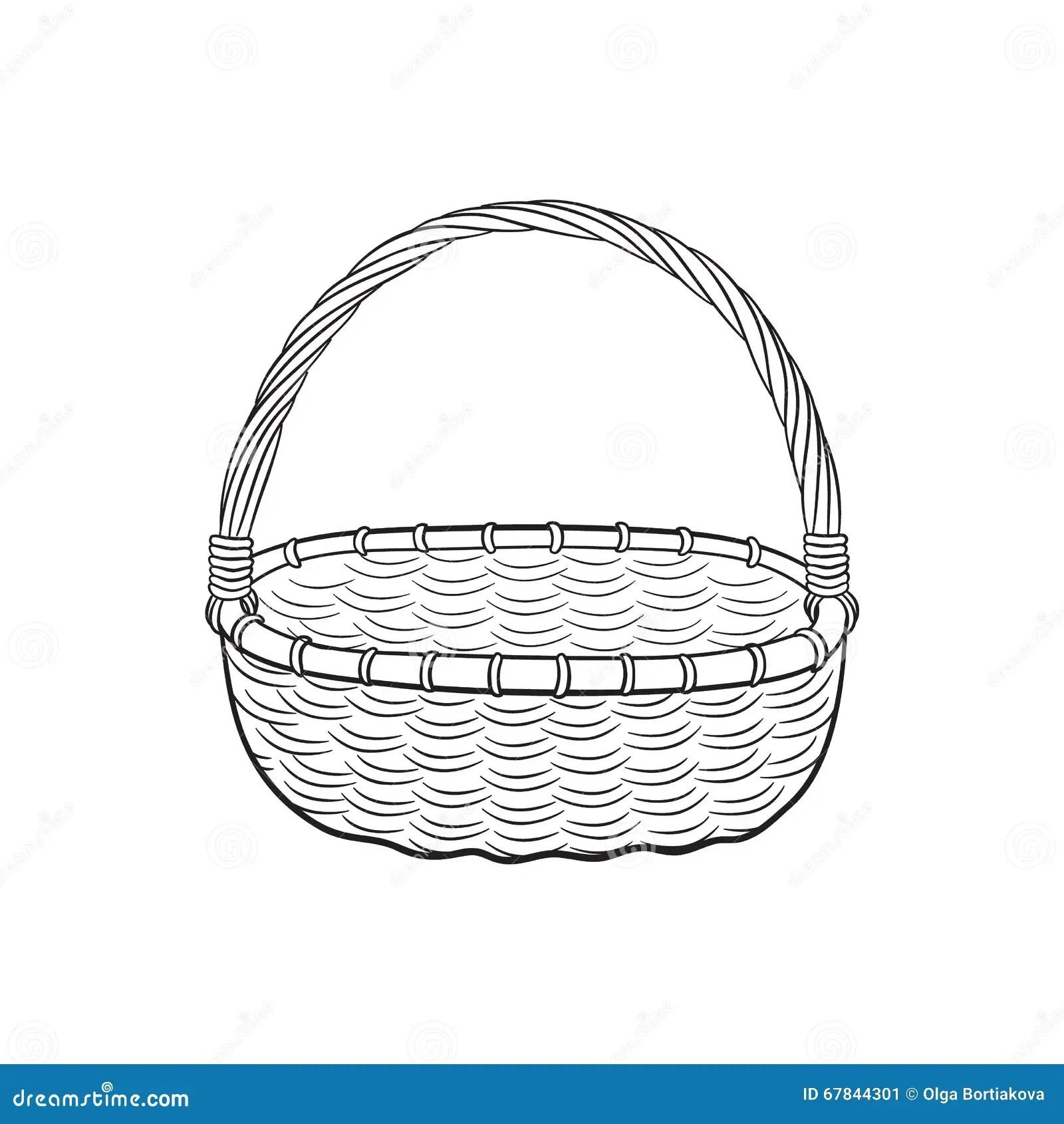 Picnic Basket Outline Stock Vector Illustration Of Basket