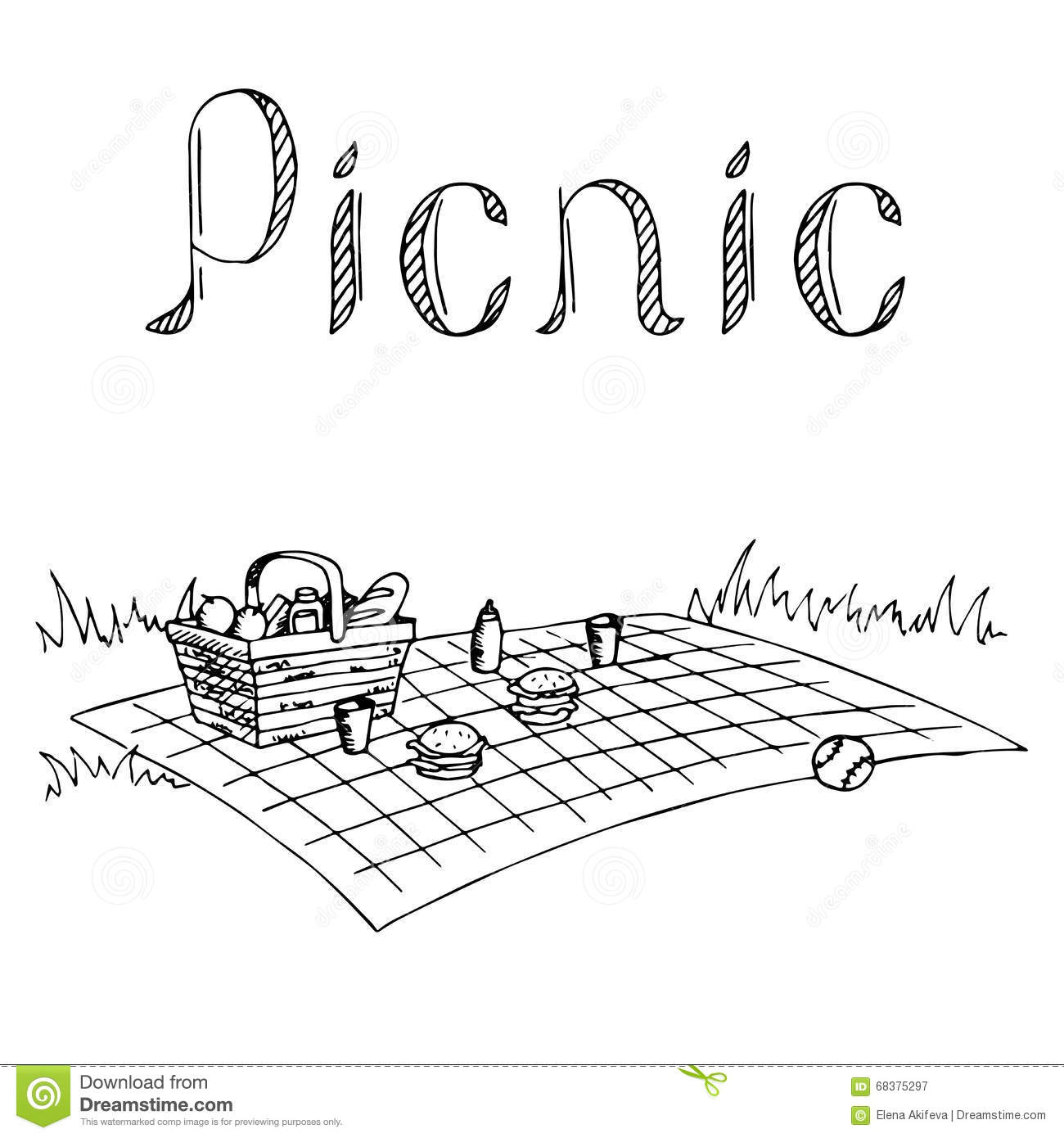 Picnic Graphic Art Black White Illustration Stock Vector