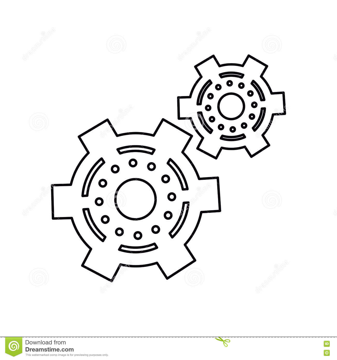 Pictogram Two Gear Wheel Engine Cog Icon Stock Vector