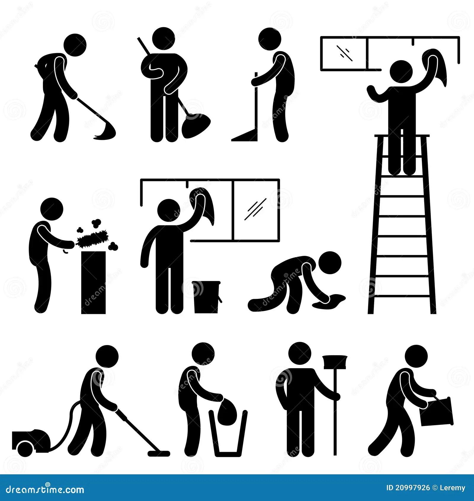 Pictograma Limpo Do Trabalhador Do Aspirador De P30 Do Wipe Da Lavagem Ilustracao Do Vetor