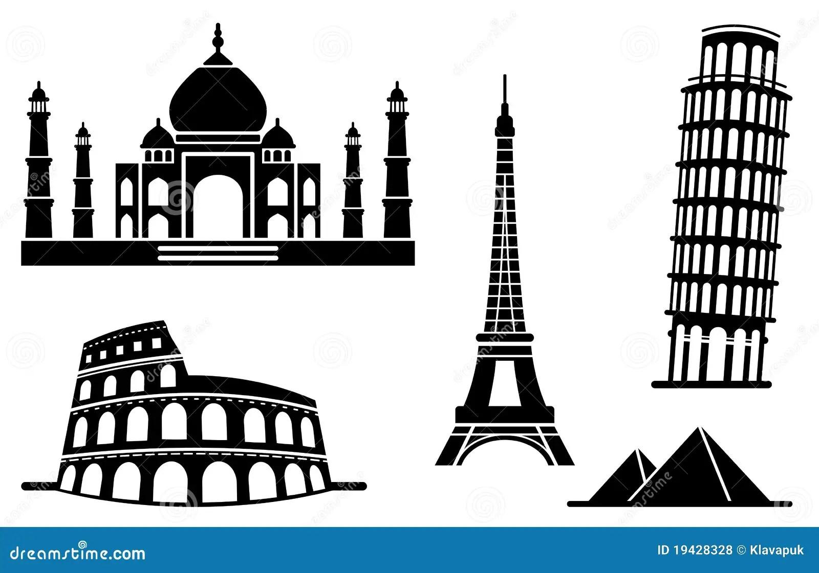 Pictogrammen Van Architecturale Monumenten Vector