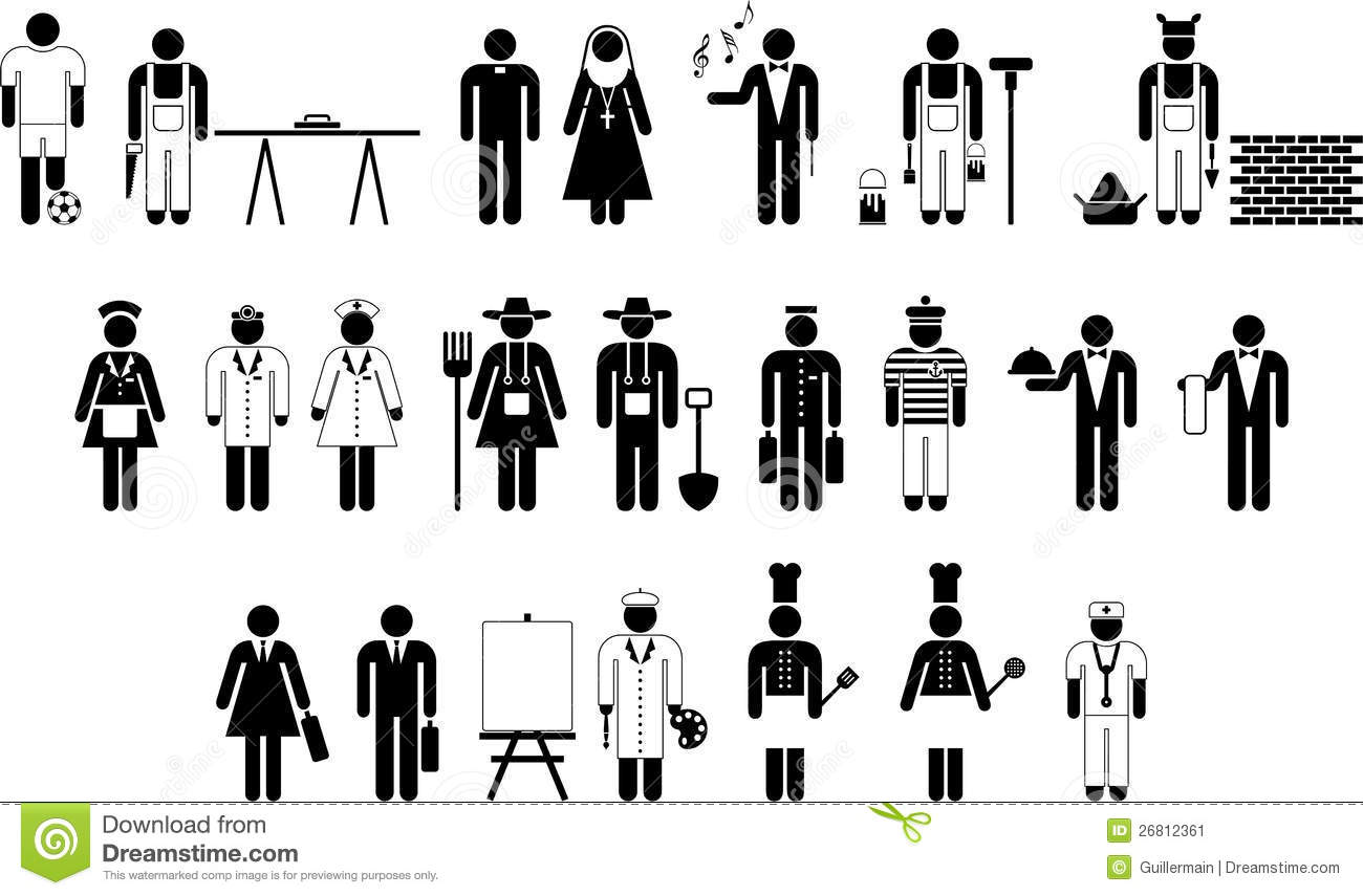 Pictograms Of Workers Stock Vector Illustration Of Hotel