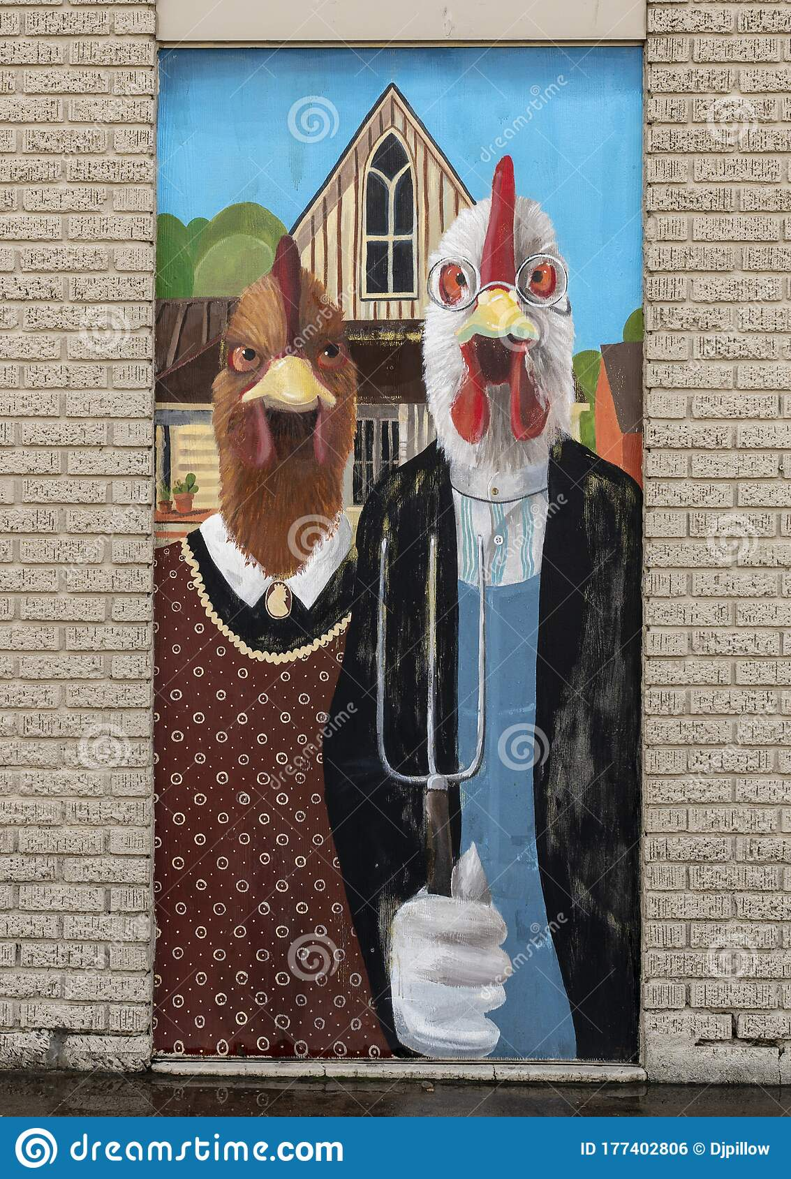 Farmer And His Wife Painting : farmer, painting, Chickens, Mimicking, Farmer, Famous, Painting,, American, Gothic, Grant, Wood., Stock, Photo, Image, Humans,, Painting:, 177402806
