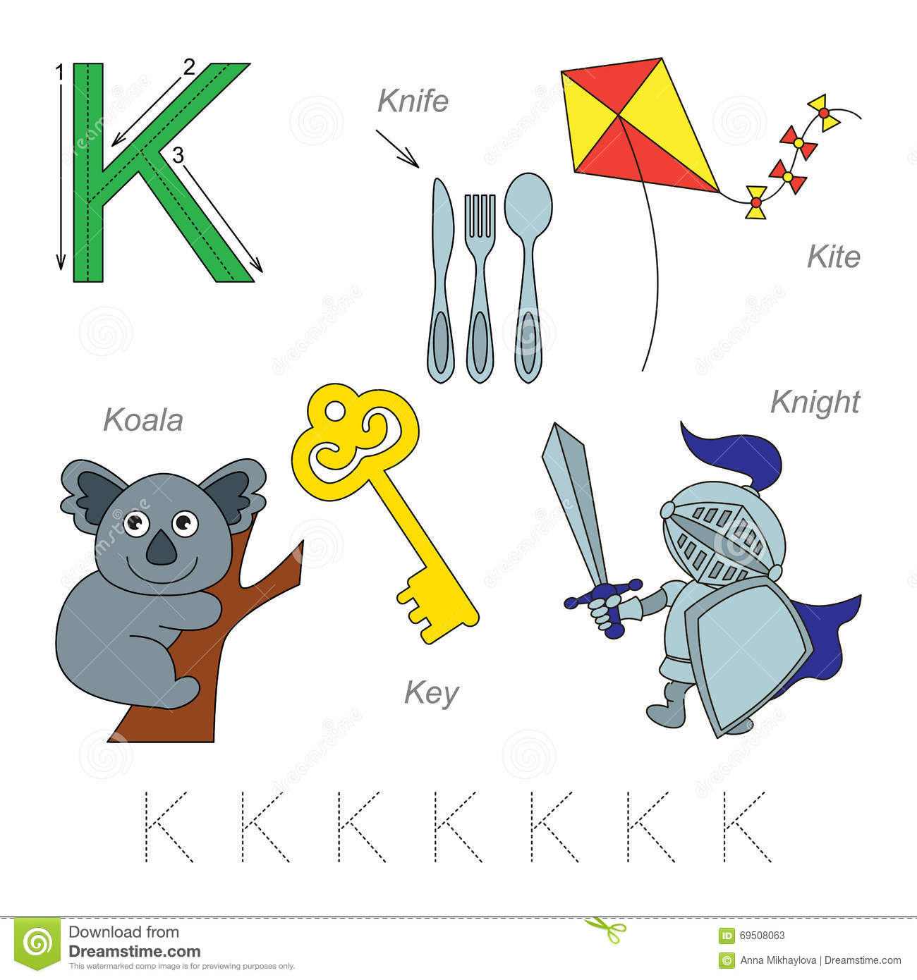 Pictures For Letter K Stock Vector Illustration Of Alphabet
