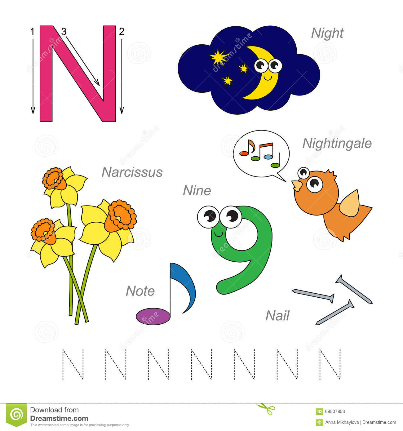 Pictures For Letter N Stock Vector Illustration Of