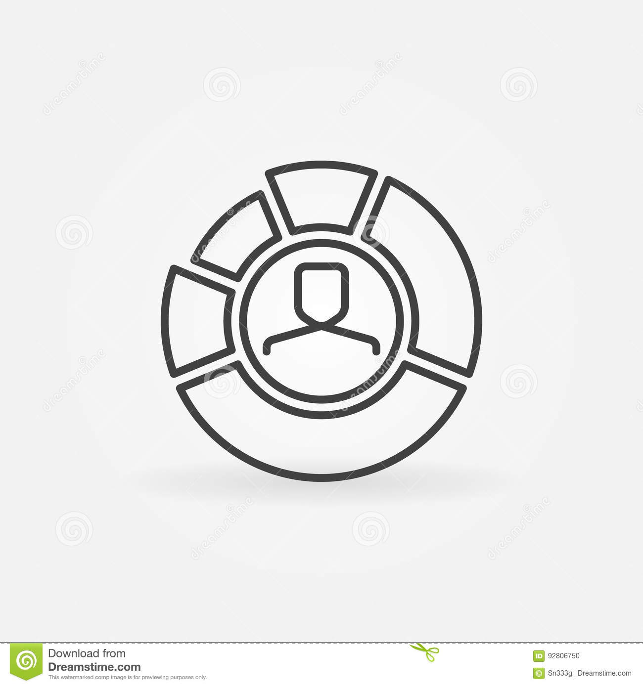 hight resolution of pie chart with face inside outline icon