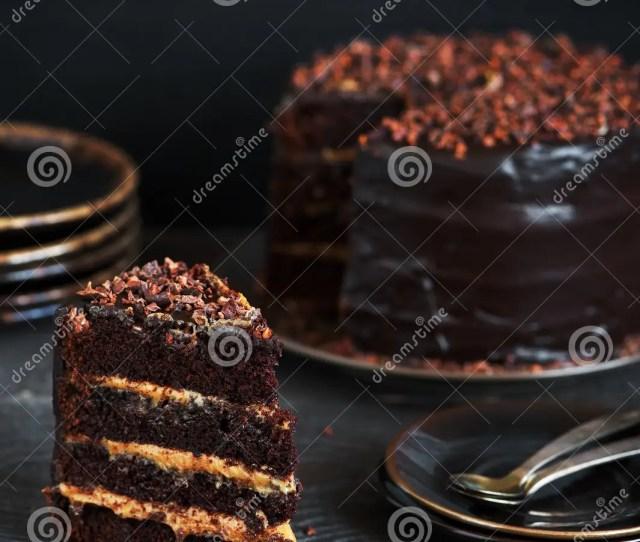 Piece Of Homemade Chocolate Cake With Caramel Cream