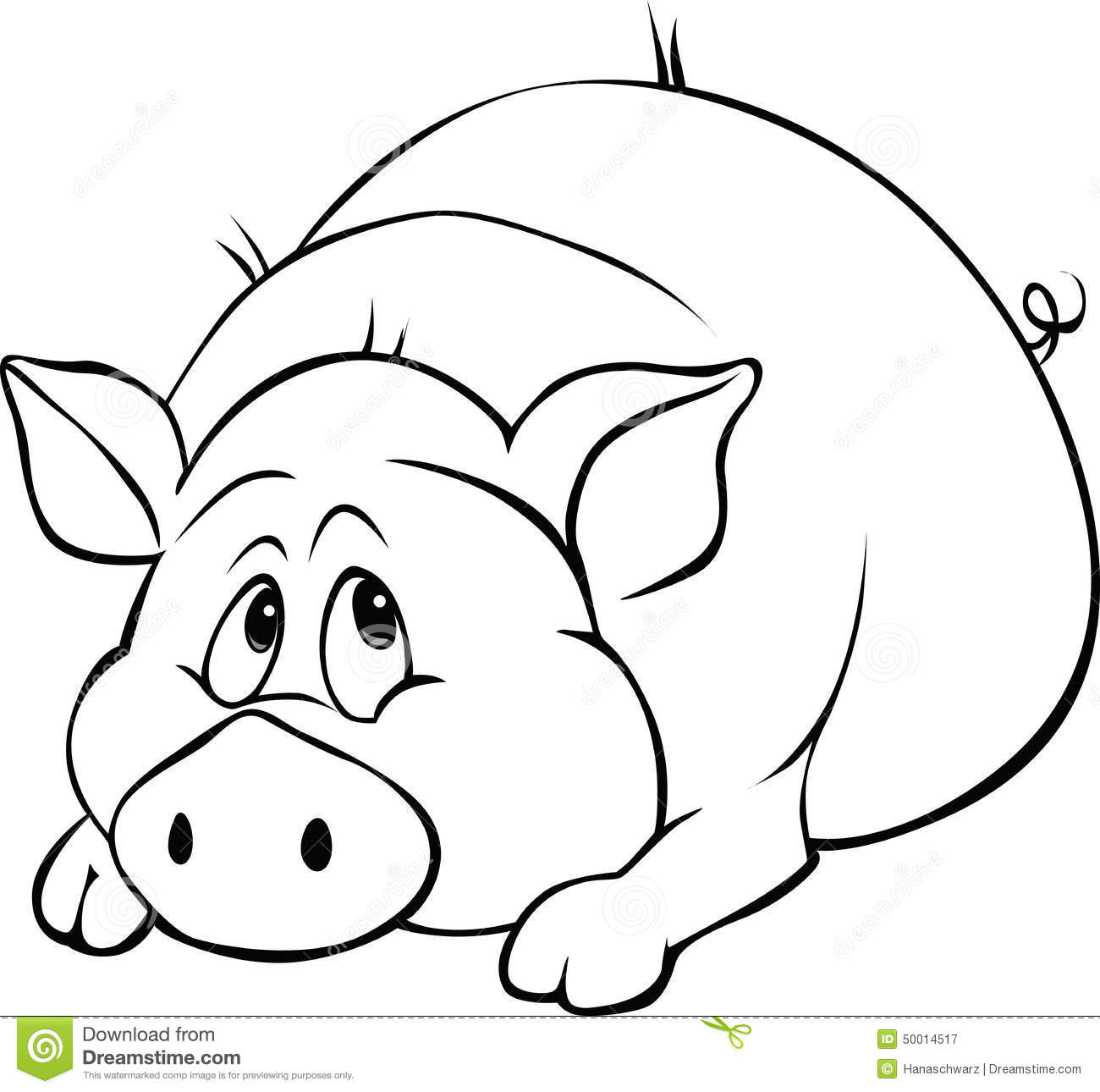 Pig Cartoon Black And White