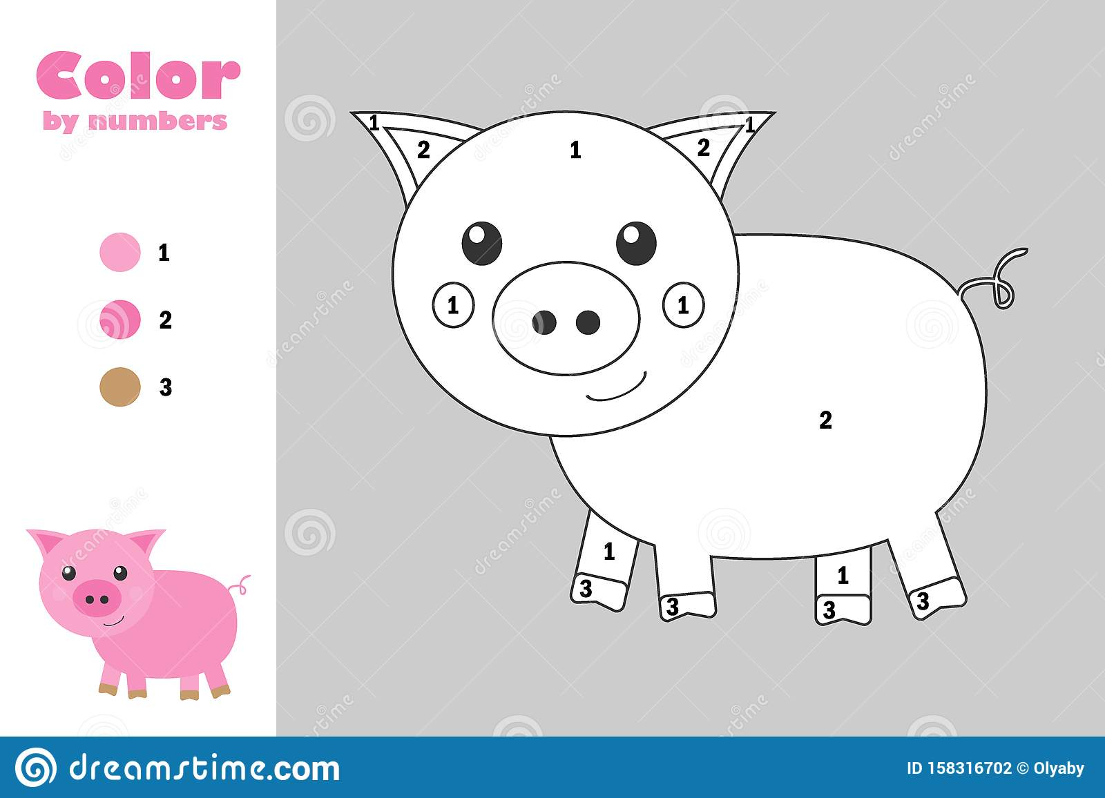 Pig In Cartoon Style Color By Number Education Paper