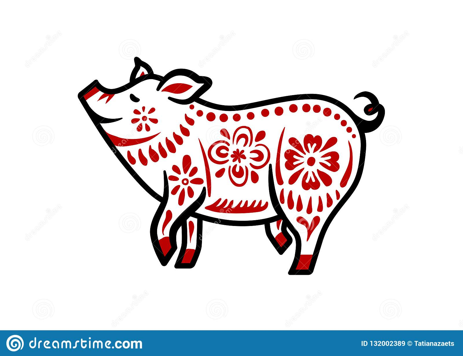 Pig For Happy Chinese New Year Celebration In White And