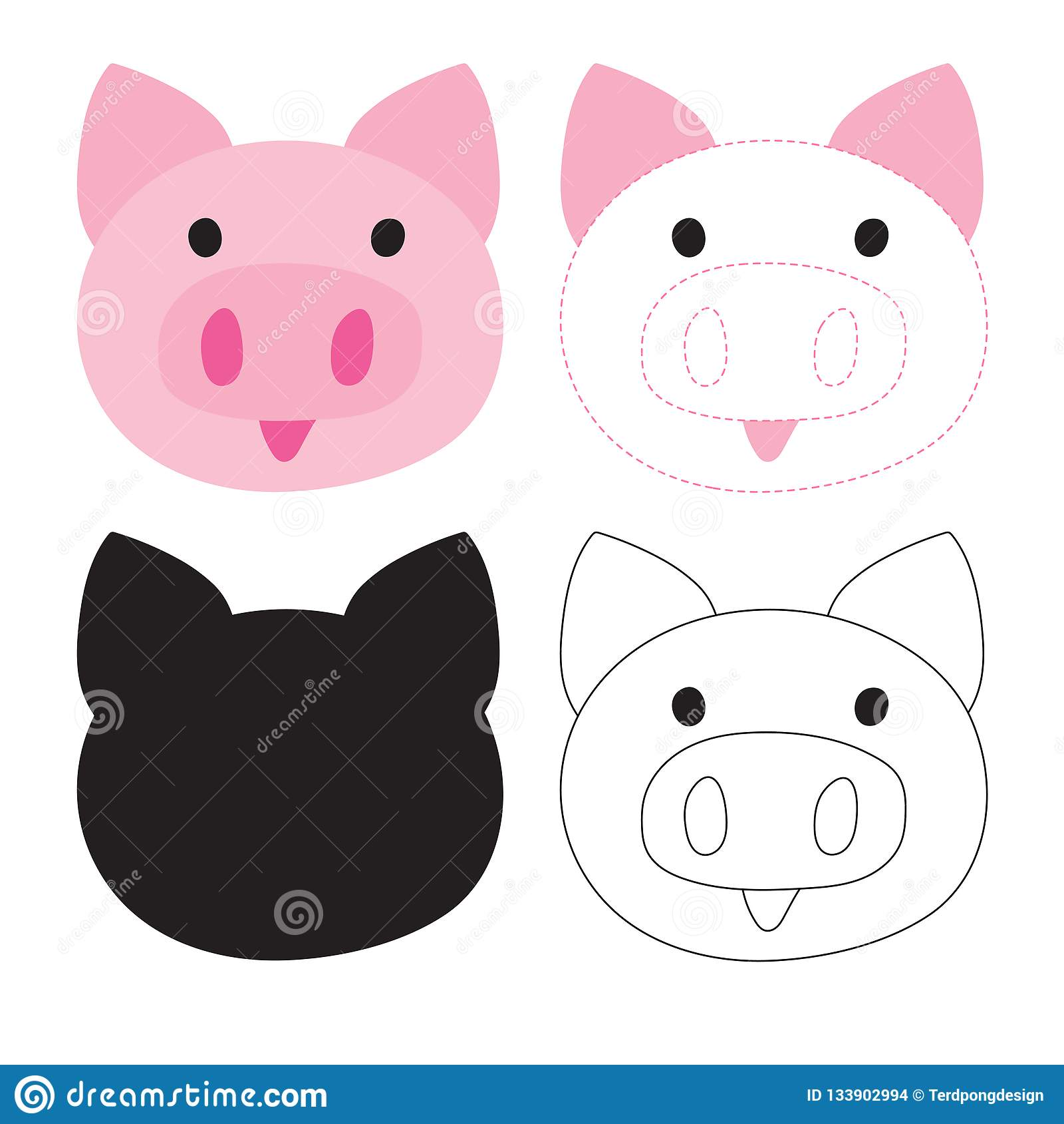 Pig Worksheet Vector Design Stock Vector
